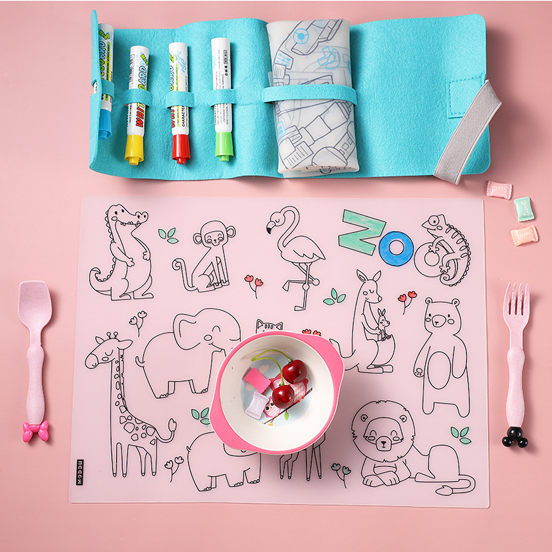 Erasable Coloring Mat Silicone Drawing Placemat for Kids