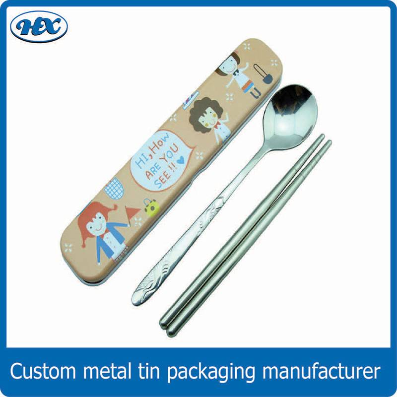 Tableware in metal tin box for kids
