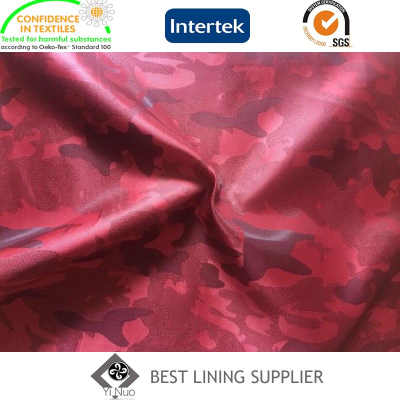 100% Polyester Camouflage Jacquard Pattern Jacket Lining