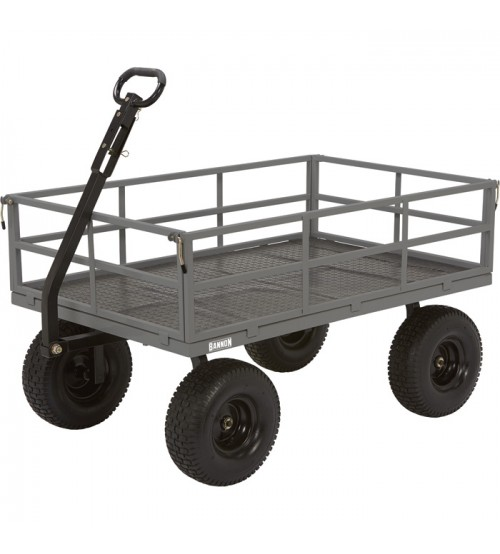 Bannon Industrial Grade Steel Garden Wagon 1.500 Lb. Capacity 52in.L x 34in.W 15in. Tires