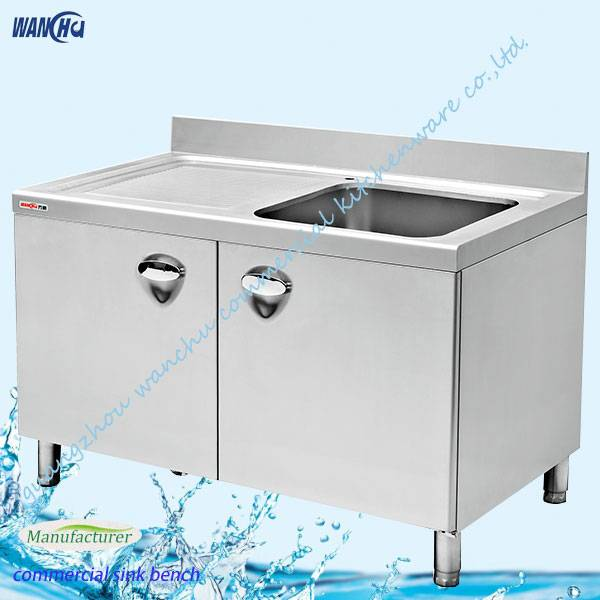 Commercial kitchen sink with table
