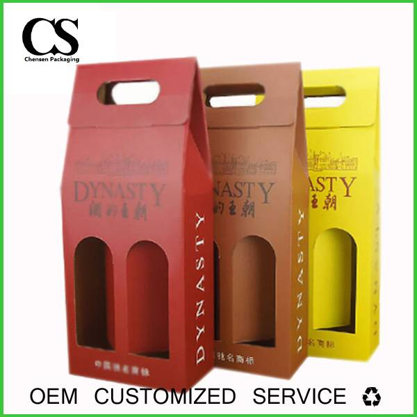 custom printed collapsible paper wine box with windows