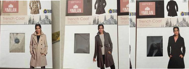 esmara brand stocklot available, 40,000pcs Ladies fashion trench coat TC1-658