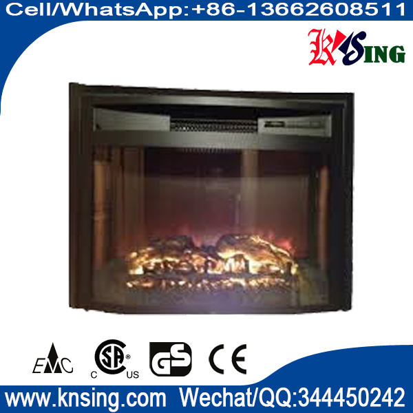 "26"" insert electric fireplace heater curved front log LED flame effect WF2613L remote control built-"