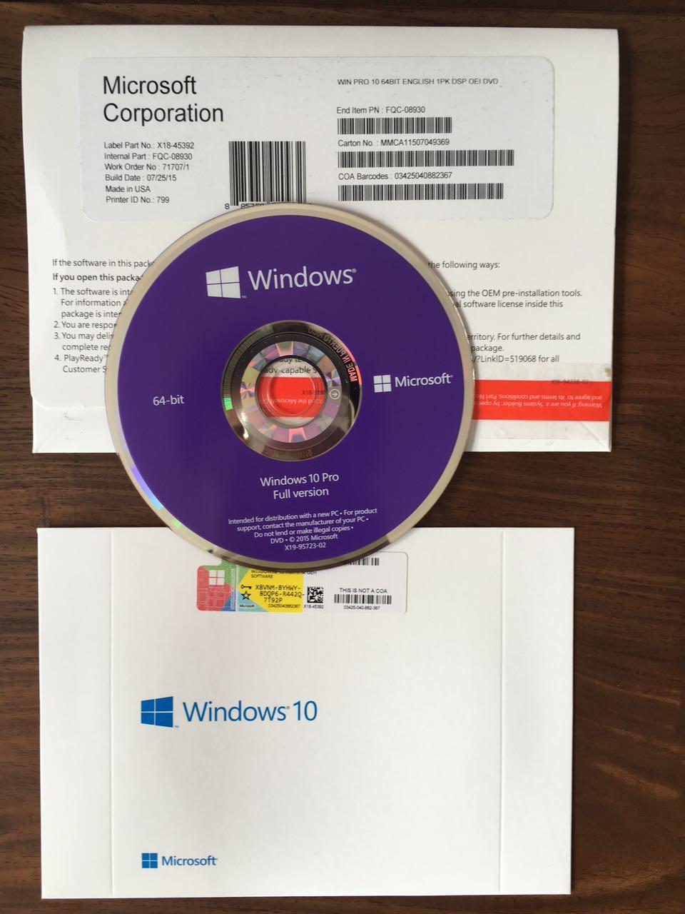 Wholesale Windows 10 pro oem pack with new oem key sticker