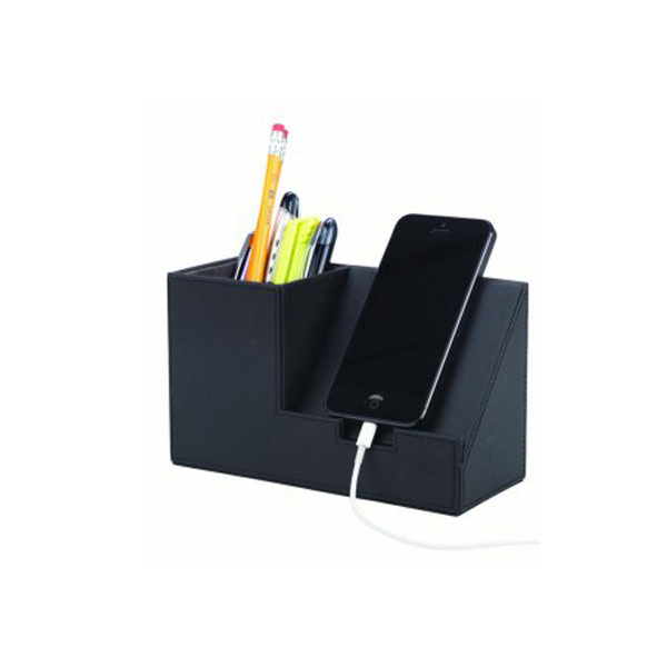 New Design Leather Phone Charging Holders with Desk Pen Holders Chinese Factories