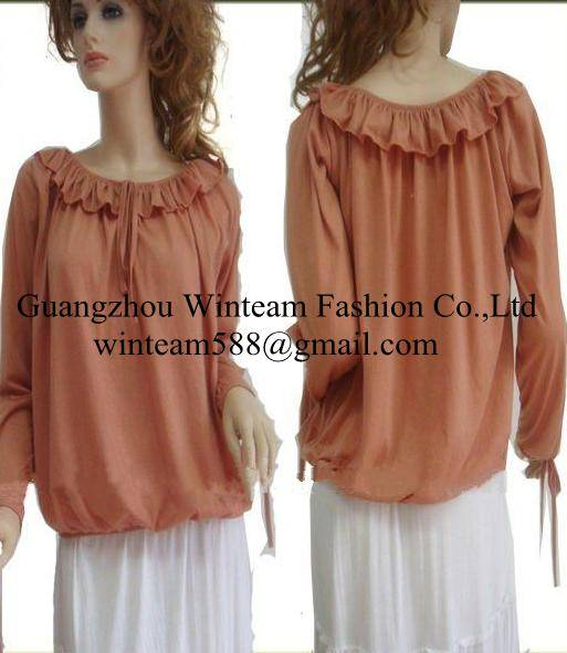 Hot sale 2014 ladies ruffle top with long sleeve