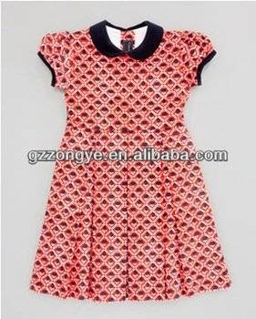 Girls Floral Printed Pleated A Line Dress Wholesale