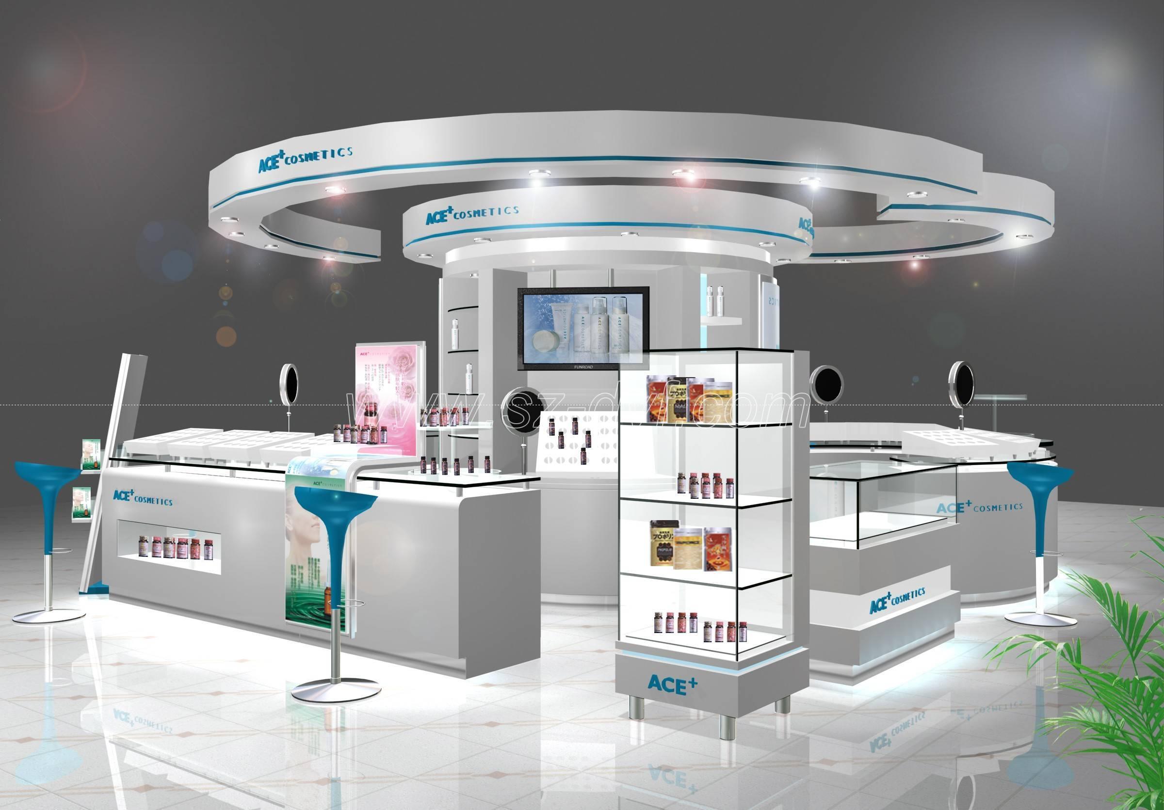Exhibition Stand Display : Cosmetics display showcase kiosk stand shenzhen