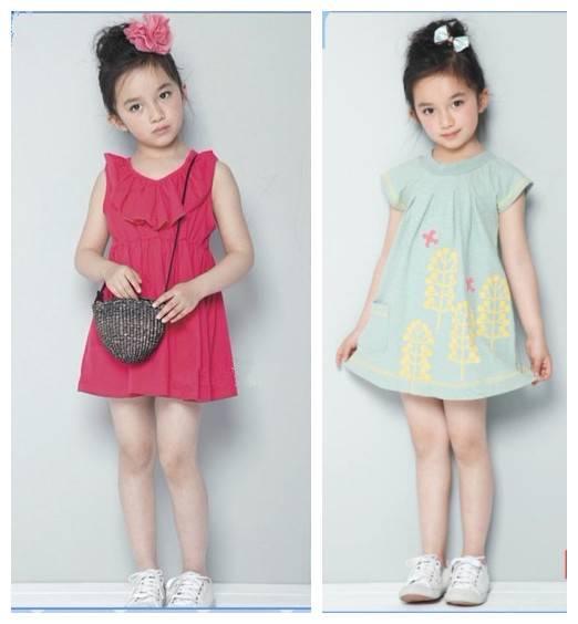 Girl cotton solid sleeveless dress big size summer knee-length skirt