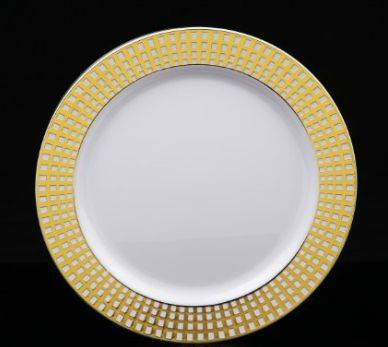 Plastic PS round Plate With Silver Hot Stamping