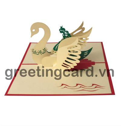 Swan princess 3D pop up greeting card