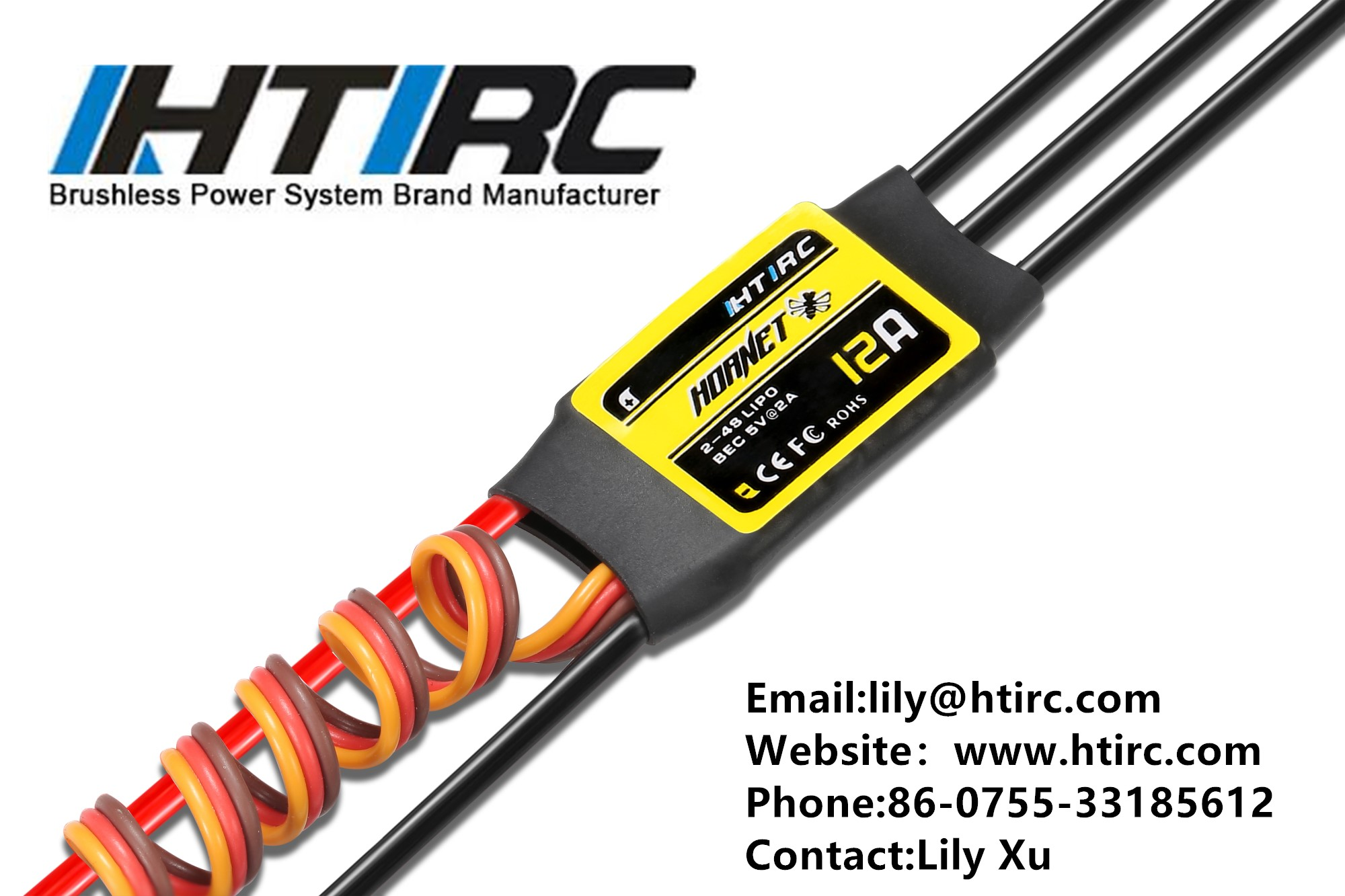 HTIRC Hornet RC ESC 12A-5V2A Brushless Speed Control Fixed-wing Aircraft Helicopter Accessory