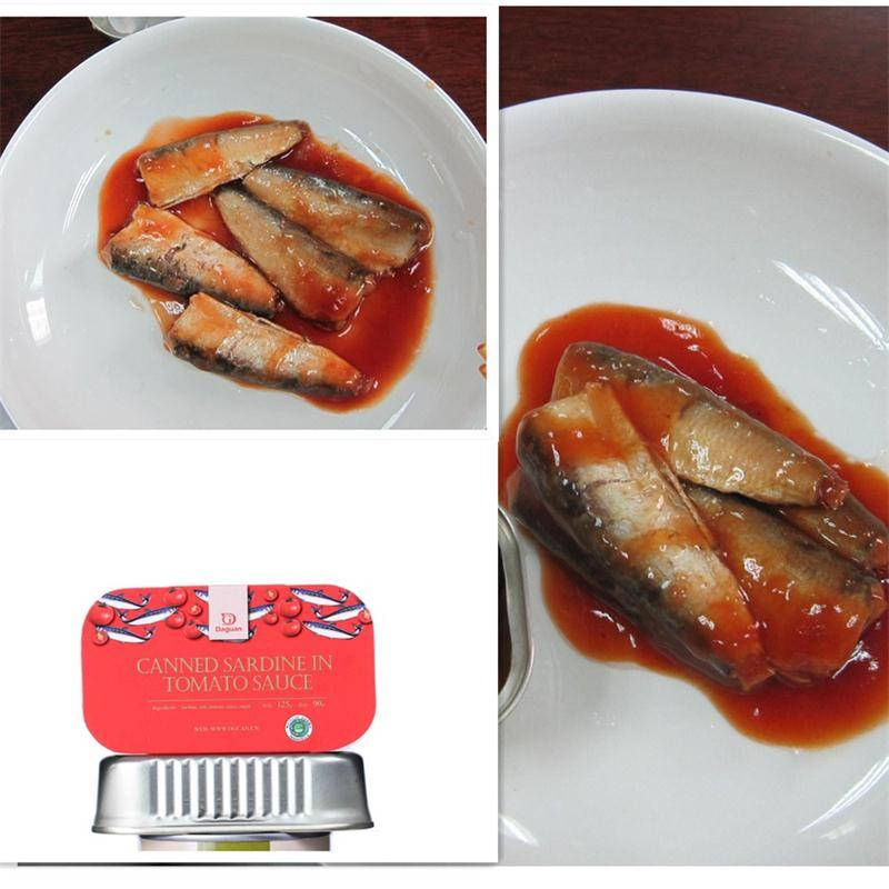 canned sardine in tomato sauce(125g/90g),canned fish manufatcurer, cylinder can, halal, haccp certif
