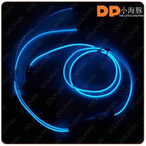 Dongguan factory OEM high quality EL glowing microphone stereo earphones