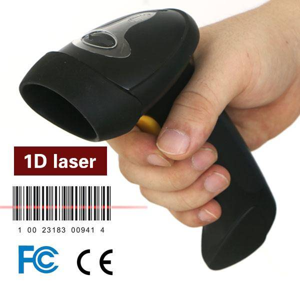 LS007 black handheld USB barcode scanner with 2.4G adapter,USB cable