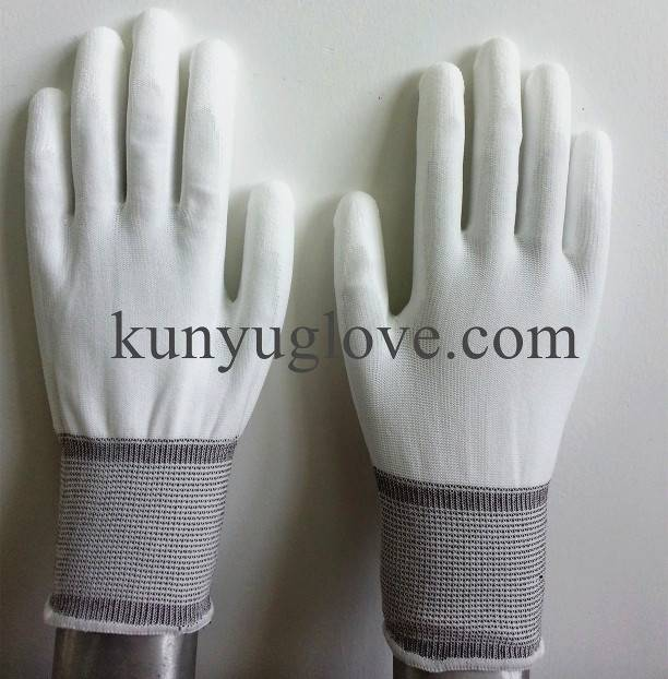 SAFETY 13ga nylon liner pu coated gloves en388/ESD glove/esd top fit glove