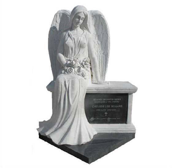 white marble angel halloween gravestone