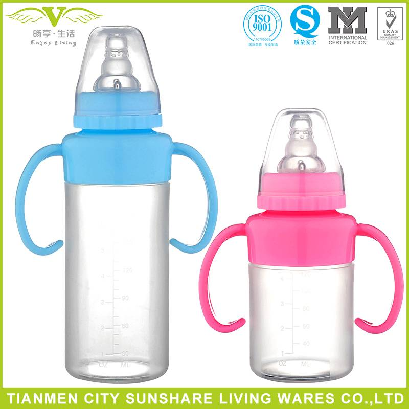 Super Soft and Eco-friendly Food Grade Liquid Silicone Baby Feeding Bottles with handle