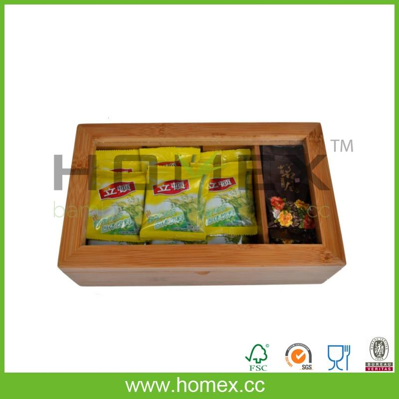 User-friendly bamboo tea box with detachable compartments/HOMEX-FSC,FDA.SGS.LFGB,BSCI