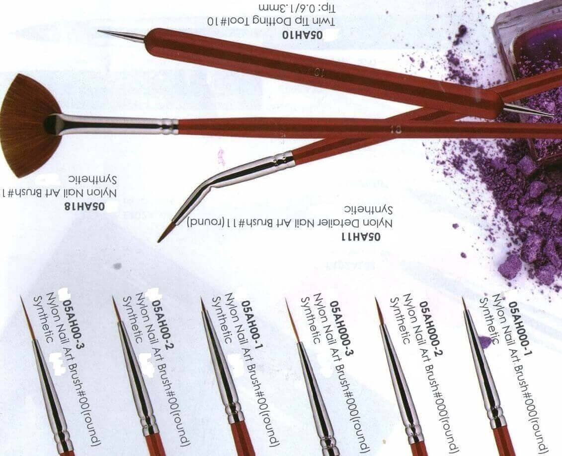 Eeesa Metal Handle Nylon Hair Beauty Nail Art Tool Pure Kolinsky Sable Hair Nail Art Brush Painting