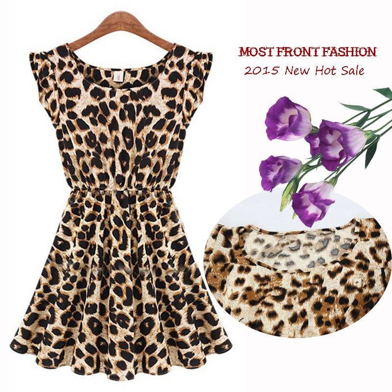 Manufacturer Selling Leopard Dress 2015 Summer Sandbeach Casual O-neck Party Women Dress