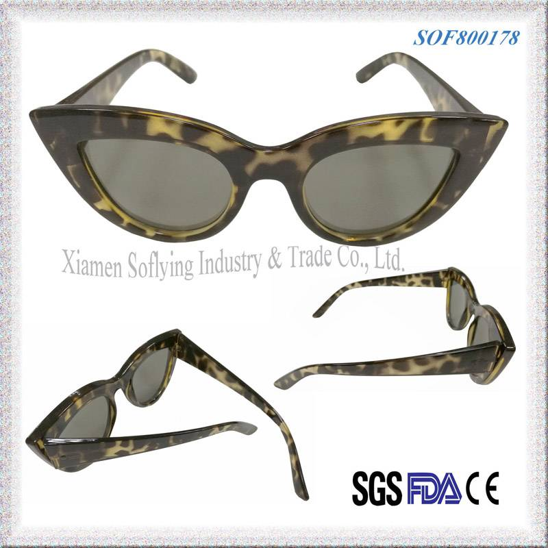 2016 New Style Women Fashion Fox Eye Sunglasses for Ladies Girls Custom Eye