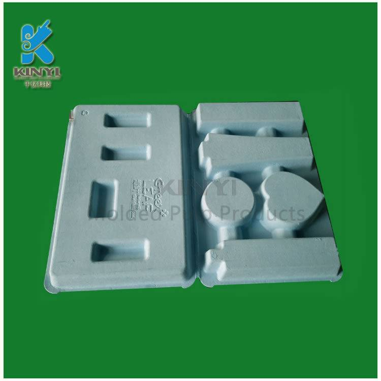 Highly qualified paper pulp mold packaging tray, cosmetic blue inner packaging