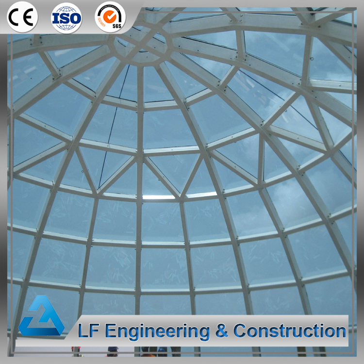 Bolt connection steel tempered dome glass roof for building
