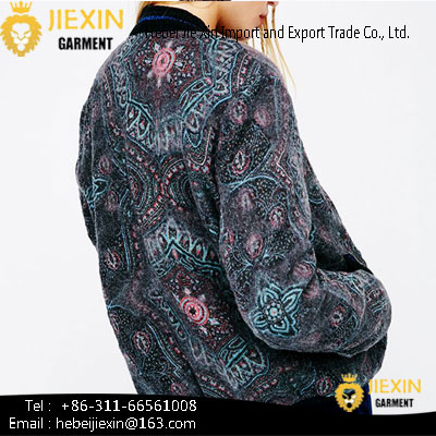 Outer Wear Outdoor Thin Printed Elastic Collar Long Sleeve Jackets for Women