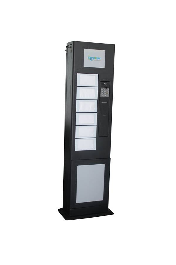 Free-standing cell phone charging station with mechanical lockers