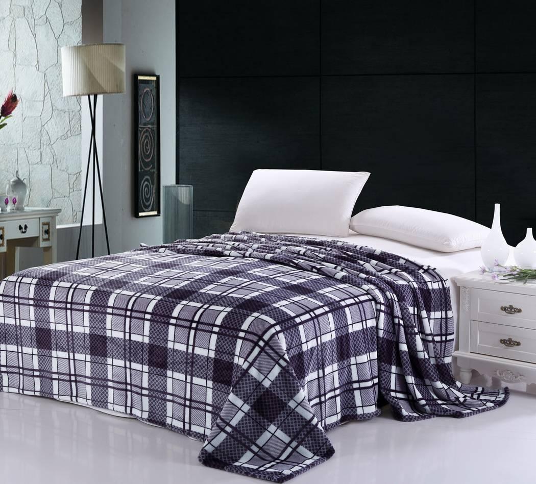 grid printed coral fleece blanket