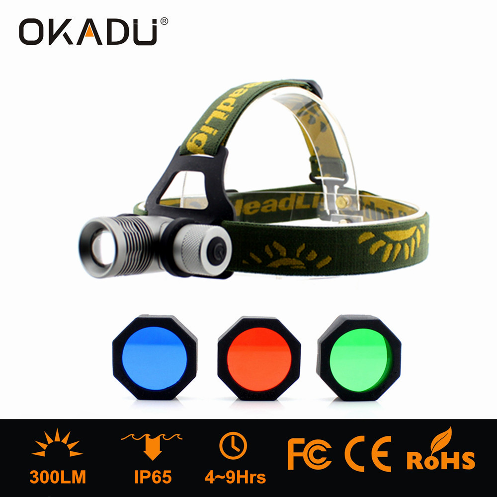 OKADU HQ02 3 Lights Color Cree Q5 Led Hunting Headlight Tension Focus 18650 Battery Hunting Headlamp