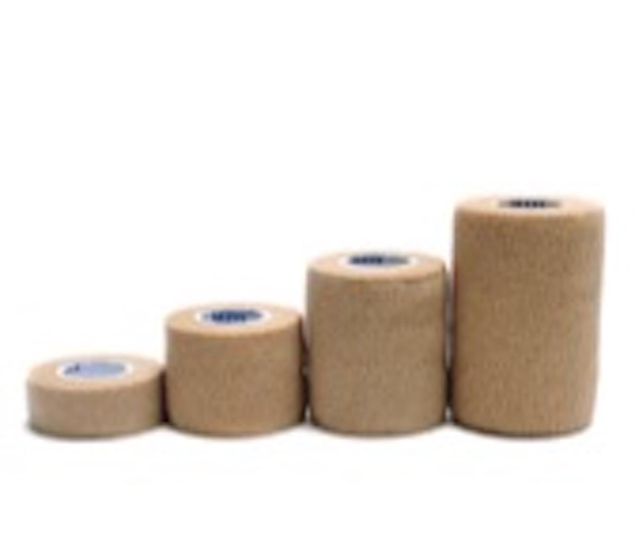 Cohesive Bandage, Natural Rubber Latex, Non-woven, Spandex, Tan