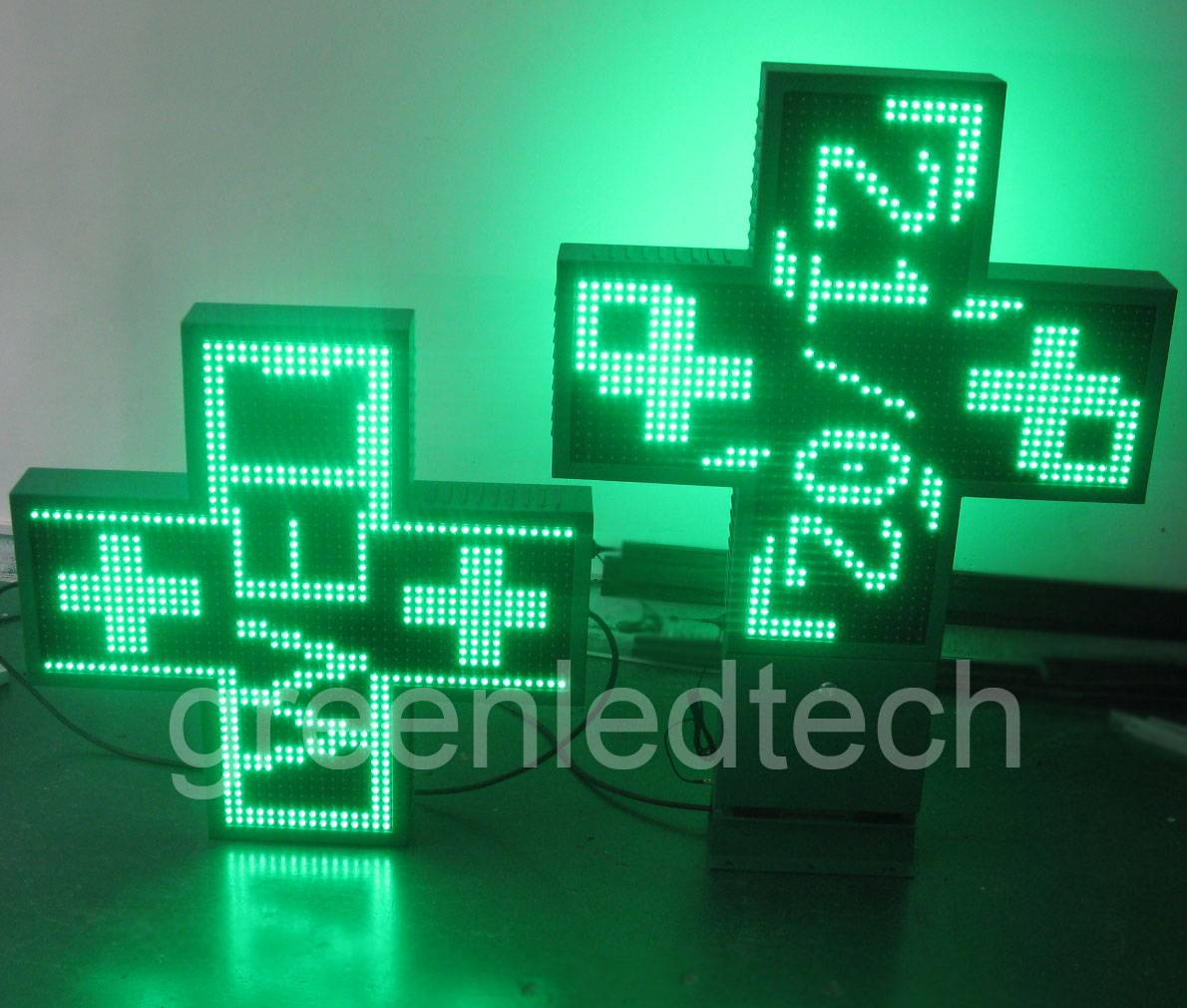 Green LED pharmacy cross 80x80cm