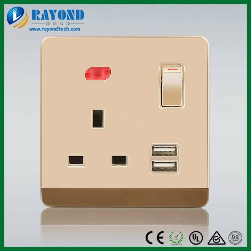 Golden Switched Neon Single Gang UK Wall Socket with 5V/2100mA Dual USB Charging Slots
