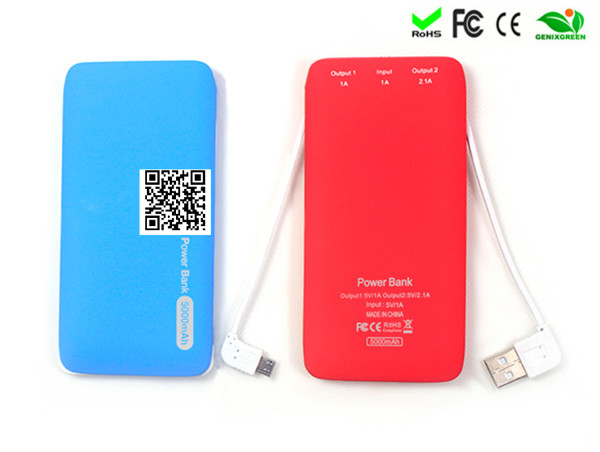 new 2014 polymer slim power banks 5000mah built-in cable