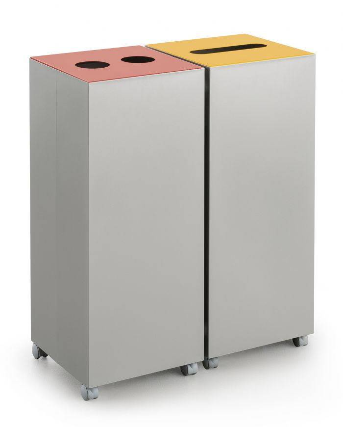 Uispair 100% Steel Square Pedal Wheelie Trash Bin Waste Bin Garbage Bin for Office Home Hotel Decora