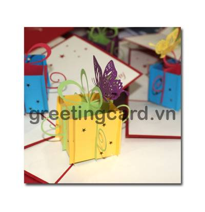 Birthday present 3D pop up greeting card