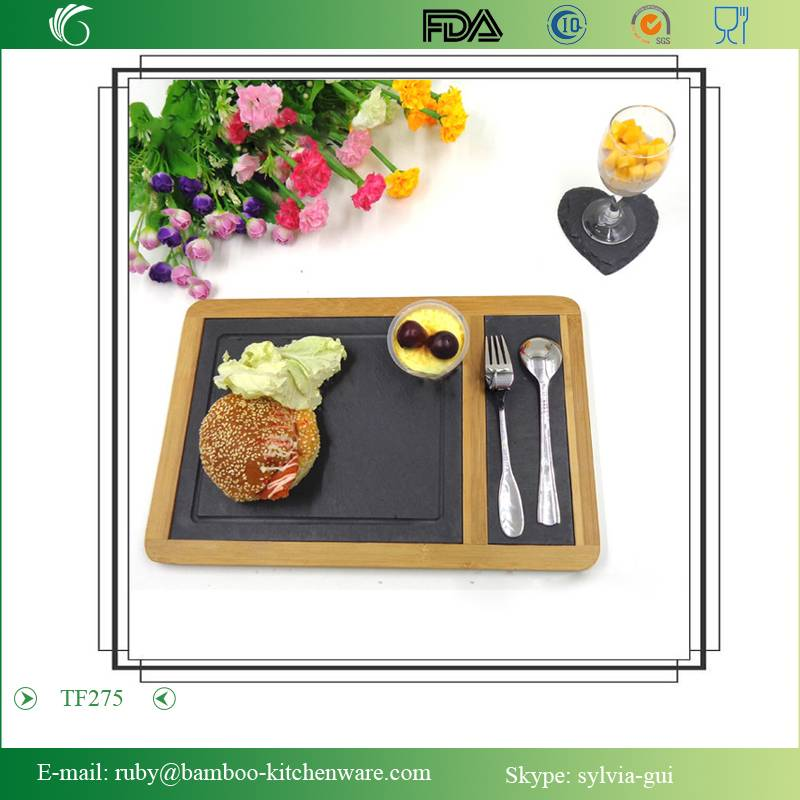 TF275/ Natural Rock Slate with Bamboo Flat Board for Western Restaurant Family Gathering Grogshop Ho