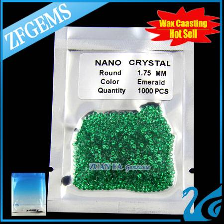 machine cut emerald green round brilliant cut 1.75mm  nano crystal make in china