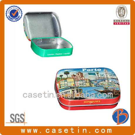 customized Chinese factory manufacturing small rectangular mint tin box with hinged lid