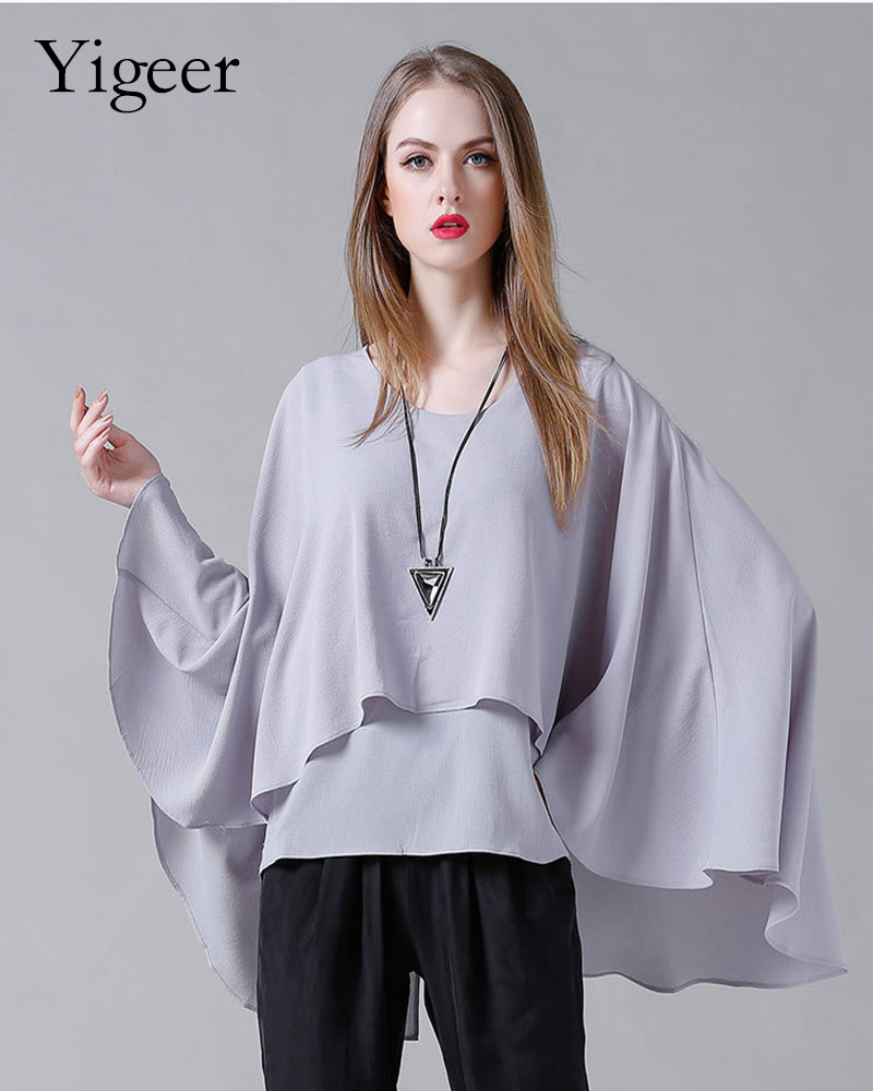 O-Neck Long Sleeve Loose Plus Size Double Layers Chiffon Top And Blouse