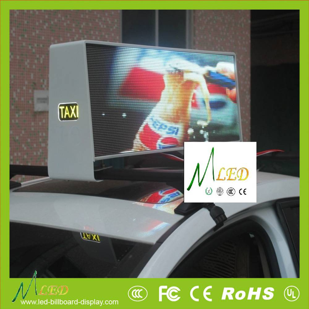 P5mm full color outdoor car taxi top led display of double sides