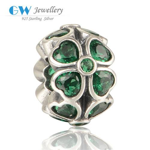 Fashion Wholesale Green Zircon Four Clover Charms Jewelry, Custom Charms, Lucky Charm