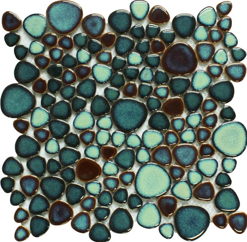 Green Porcelain Tile Pebbles Bath Wall Backsplash Tiles Glazed Ceramic Mosaic Kitchen Walls