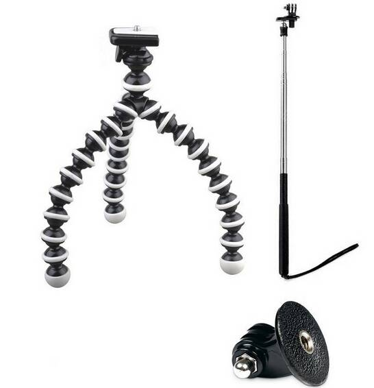 POPLAR Flexible Bendable Tripod + Selfie sticks + Tripod Mount for GoPro Hero, Hero2, Hero3, Hero3+
