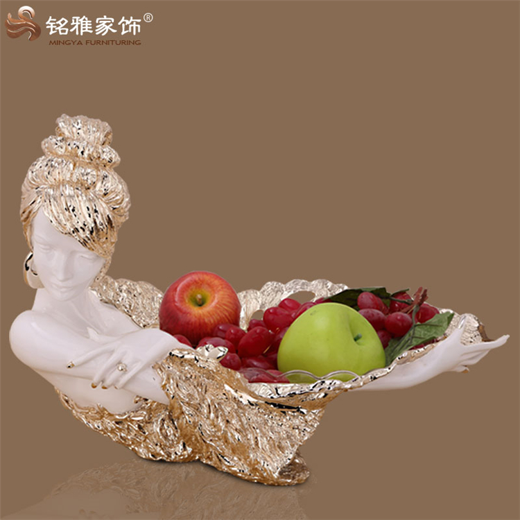 Beauty figurine resin fruit plate handmade home decoration