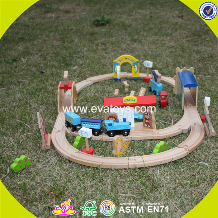 2017 wholesale baby wooden car track toy cheap kids funny children W04D013
