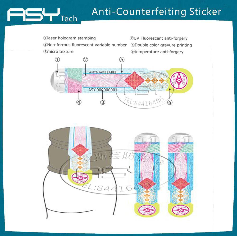 Security hot stamping hologram paper sticker for red wine